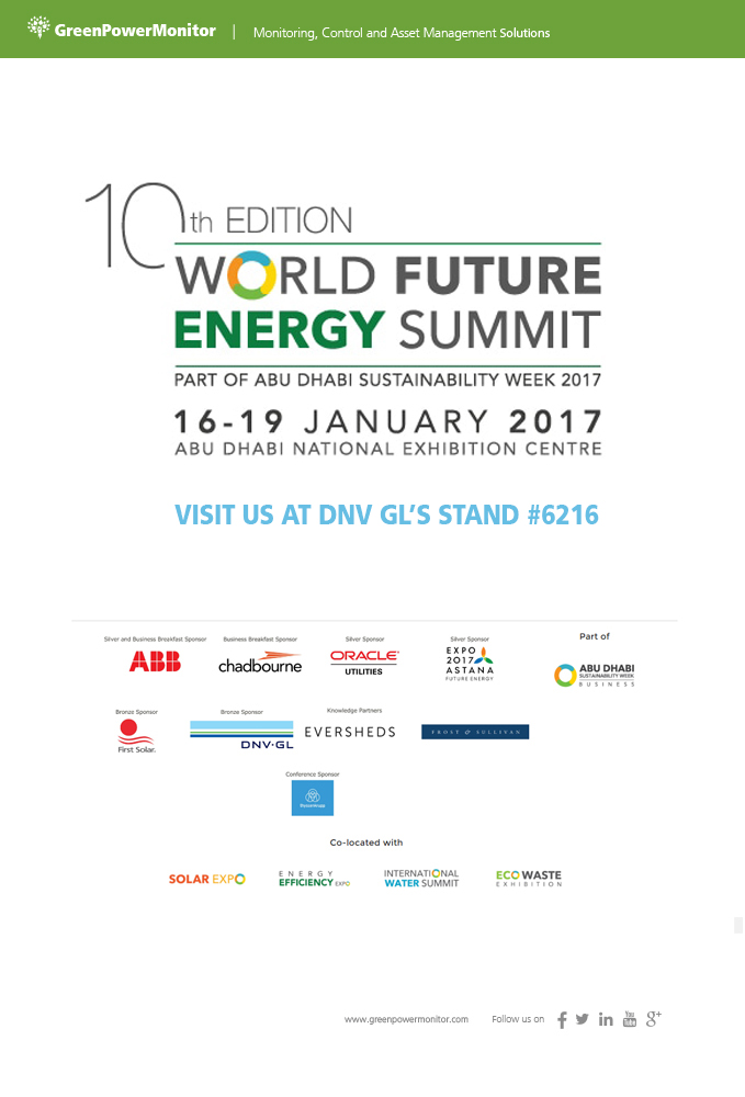 GreenPowerMonitor joins DNV GL at World Future Energy Summit 3
